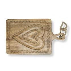 Tagliere in noce con cuore inciso nel legno 35 x 35 cm