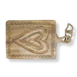 Tagliere in noce con cuore inciso nel legno 30 x18 cm