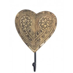 Heart-Shaped Coat Hanger in Walnut wood - size 6,8X4,8 inches Present Ideas for Men - Made in Italy