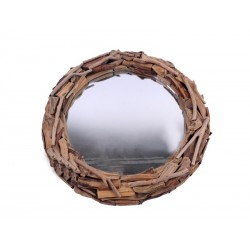 Specchio quadrato in legno rustico scurito