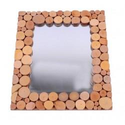 Specchio rettangolare in legno a rondelle