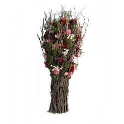 Dried Flowers wood ornament
