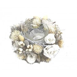 Tealight Holder with Dried Flower in White Colors  best Gifts for Teenage Girls - Made in Italy