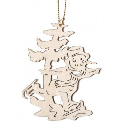 Skating Santa Claus - Dolfi Wooden Decorative Tree - Made in Italy