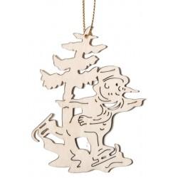Weihnachtsmann mit Schlittschuhen, Dolfi Moderner Christbaumschmuck, Original Grödner Schnitzereien