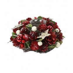 Christmas Tealight Holder with Dried Flower, Red Pine Cones and White Berries  - Home Decor - Dolfi