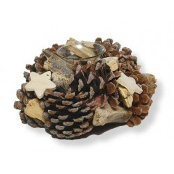 Tea Light Holder  with Pine Cones and wood Stars - Dolfi Mothers Day Gifts 2021 - Made in Italy