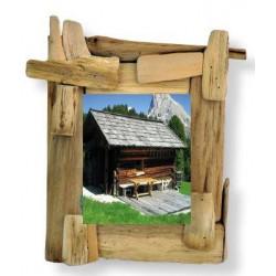 Portafoto scolpito in legno rustico
