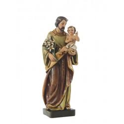Heiliger Josef mit Kind und Lilienblume aus den Materialien Holzmaße, Kunststoff und Polyresin