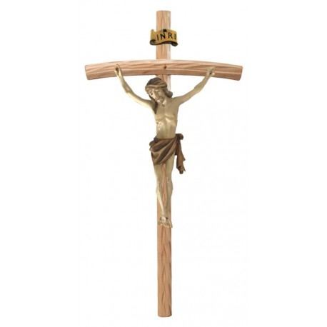 Corpo di Cristo su Croce Curva in legno - brunito 3 col.
