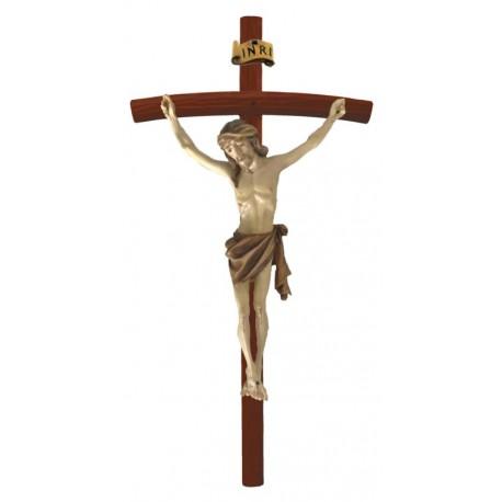 Holzkreuz mit Korpus auf gebogenen dunklen Balken - mehrfach gebeizt