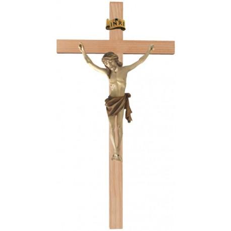 Christuskörper aus Holz auf gebogenem Balken - mehrfach gebeizt