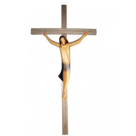 Corpo di Cristo scolpito in legno pregiato su croce - drappo blu