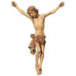 The body of Jesus Christ hand carved in italian maple wood - Wood colored in Different brown shades