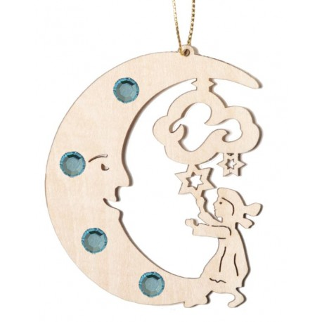 Moon with child with Swarovski Crystals
