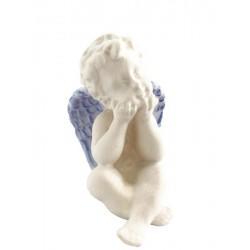 Sitzender Engel rechts, Dolfi kleiner Holzengel, diese Skulptur ist eine edle Schnitzerei - Blaues Tuch