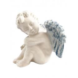 Sitzender Engel Holz links - Blaues Tuch