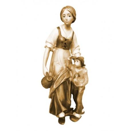 Pastorella con ragazzo in legno - brunito 3 col.