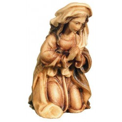 Mary, Mother of Jesus carved in maple wood  - Wood colored in Different brown shades