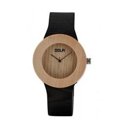 Dame Armbanduhr aus hellem Ahornholz mit Kunstlederarmband