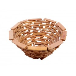 Cesto portafrutta tondo in legno rustico