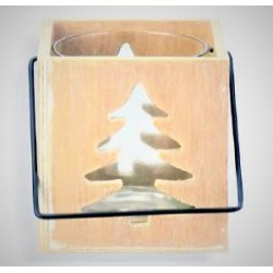 Wooden Candle holder with Tree