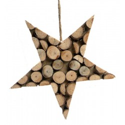 Stella scolpita con rondelle di legno da appendere
