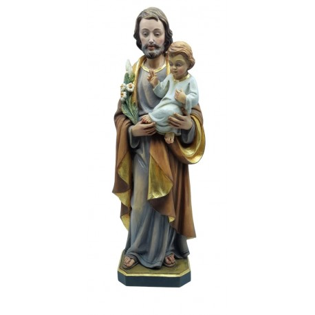 Saint Joseph with Child and Lily wood carved statue