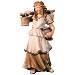 Shepherdess with Water Jug carved in maple wood  - lightly colored with oil paint