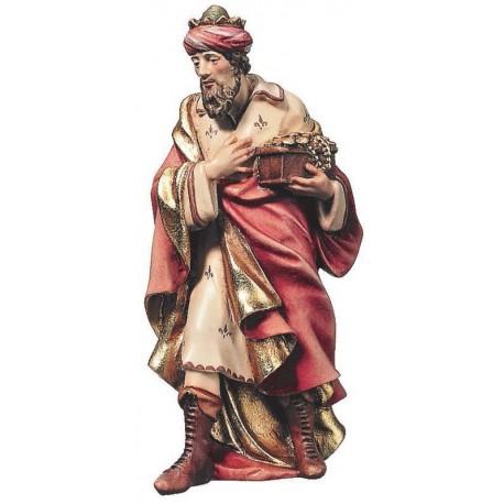 Statuina Melchiorre Re Magio in legno - colorato a olio