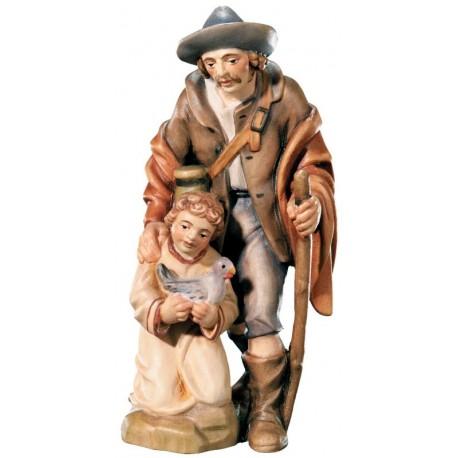 Pastore con bambino in legno - colorato a olio