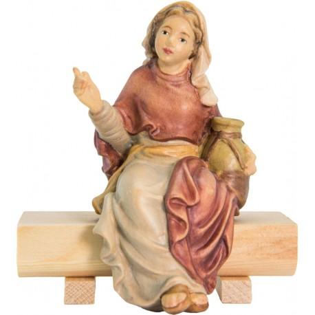 Sitting Shepherdess in wood - color