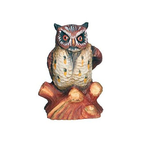 Owl carved in maple wood - color