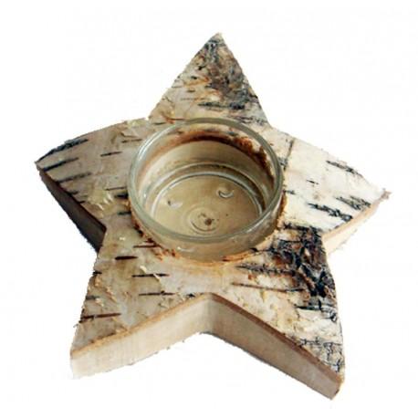 Teelichthalter in Sternform aus Birkenholz
