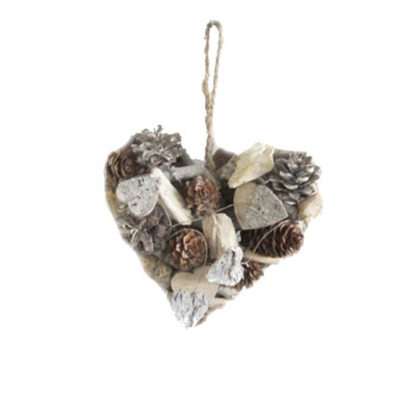 Heart with natural wood Pine Cones